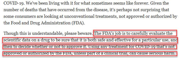 FDA and Ivermectin